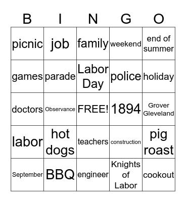 Berger Bingo Card