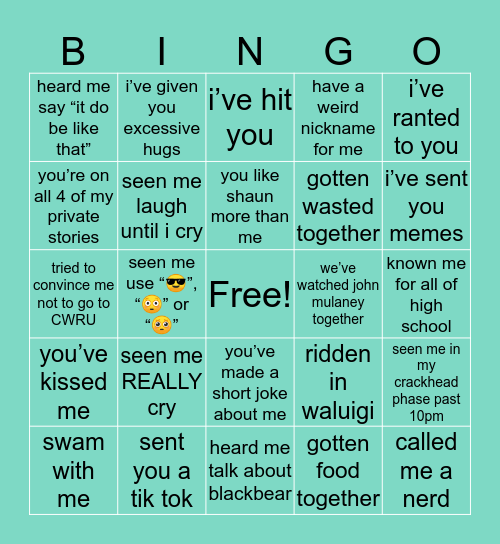 Hannah's Bingo Card