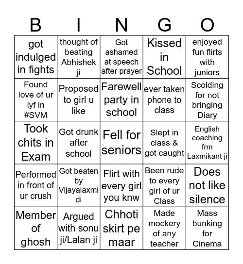 @svminstafan Bingo Card