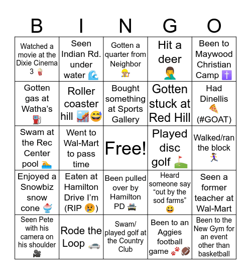 Hamilton, AL Bingo Card