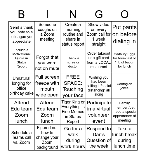 Working From Home During a Global Pandemic BINGO Card