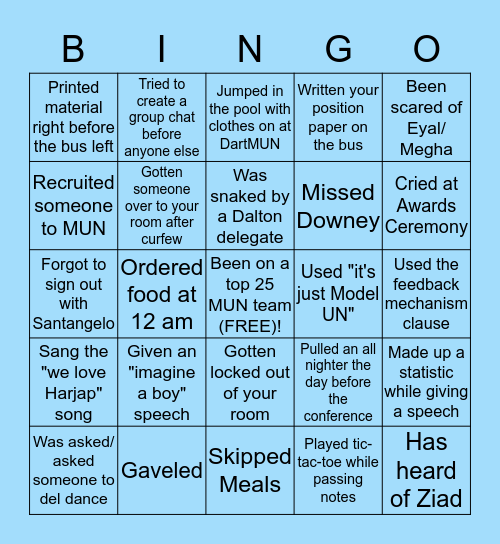 PANTHER MODEL UN Bingo Card