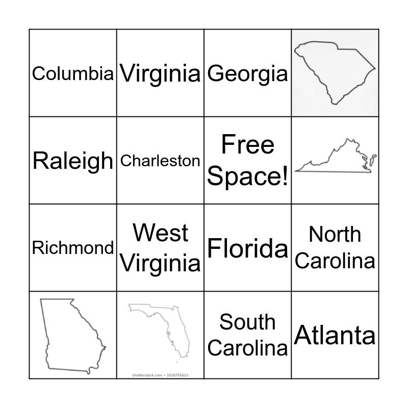 South Atlantic States Bingo Card