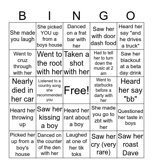 Sofia's Bingo Card