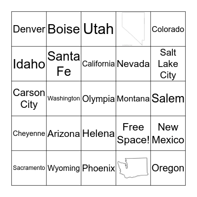 Rocky Mountain & Pacific States Bingo Card