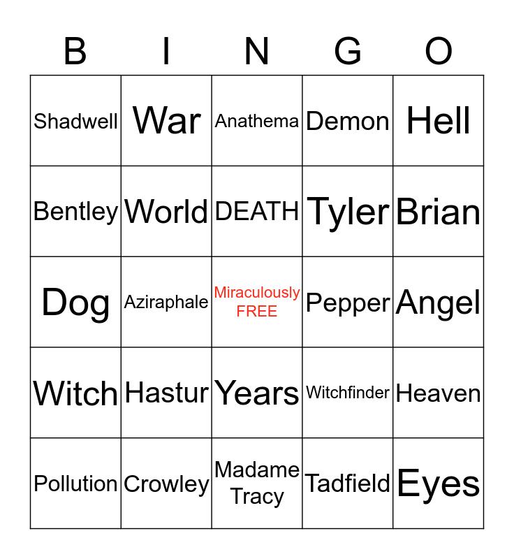 Good Omens 30th Birthday Text Edition Bingo Card