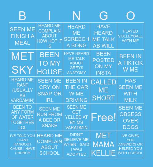 HANNAHS BINGOOOO Bingo Card