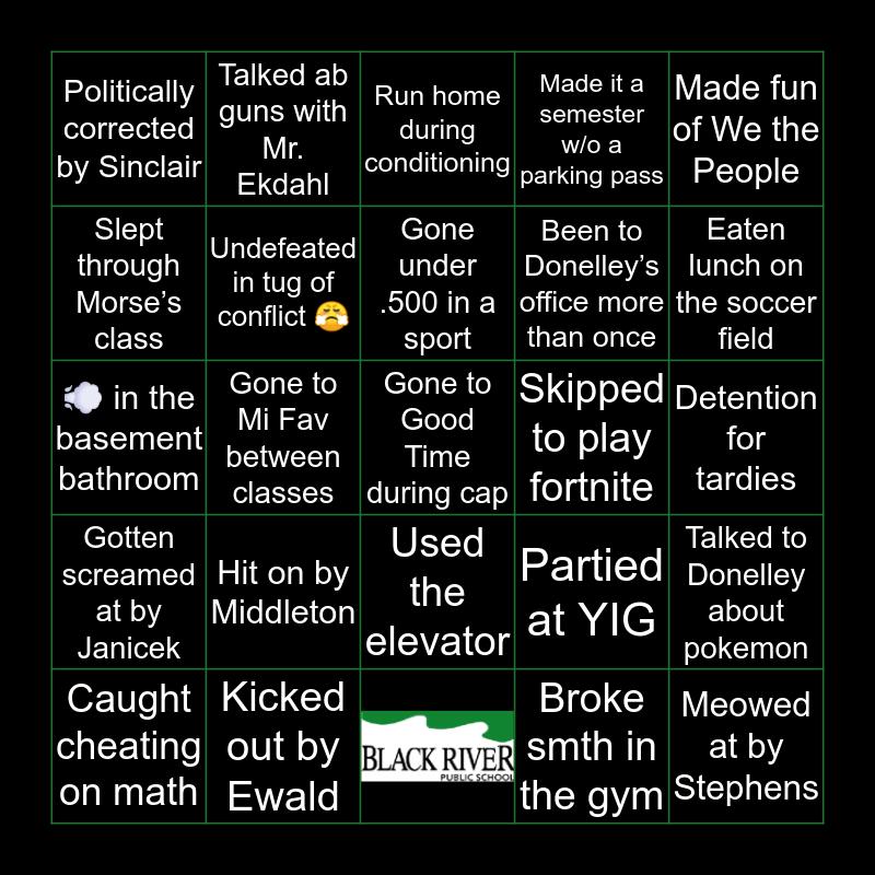 Black River Bingo Card