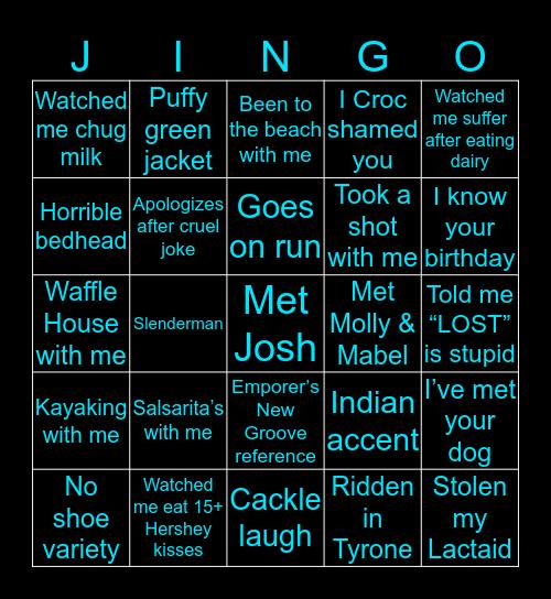Josh Jingo Bingo Card