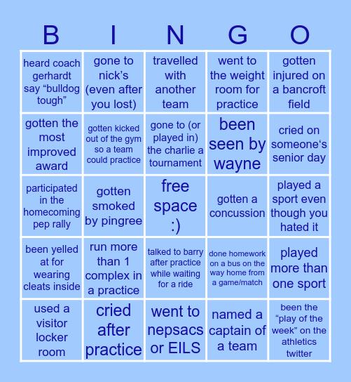 Bancroft Student Athlete Bingo! Bingo Card
