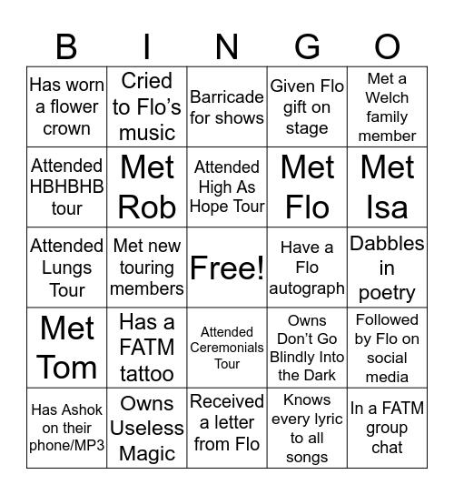 Florence + The Machine Bingo Card