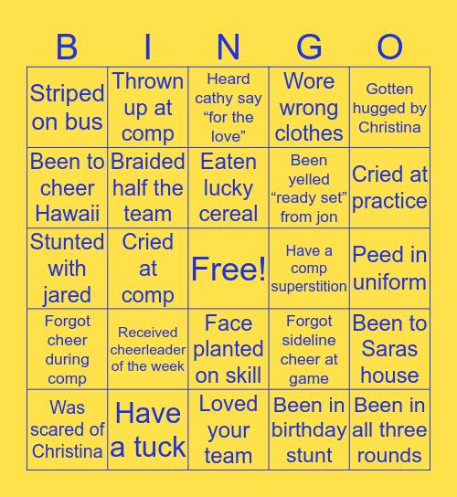 SHS Cheer Bingo Card
