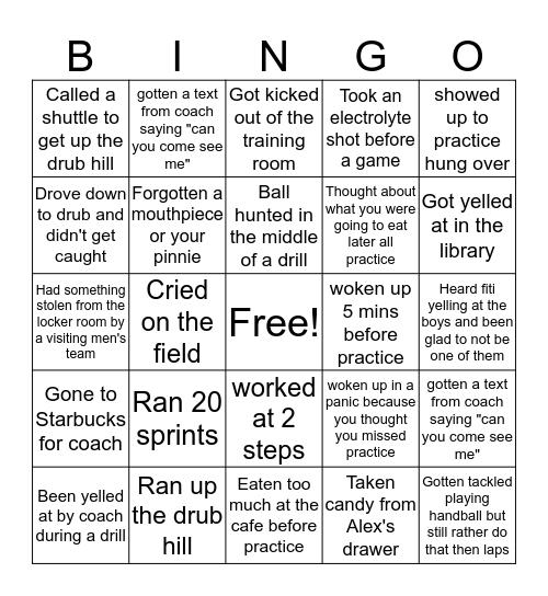 Post Women's Lacrosse BINGO Card