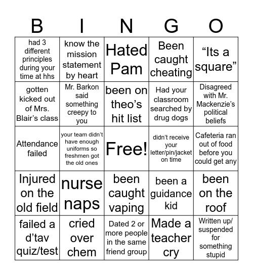 HHS bingo Card