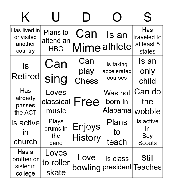 Find Someone Who (Without Talking) Bingo Card