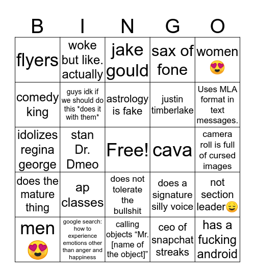 an dun e bingo Card