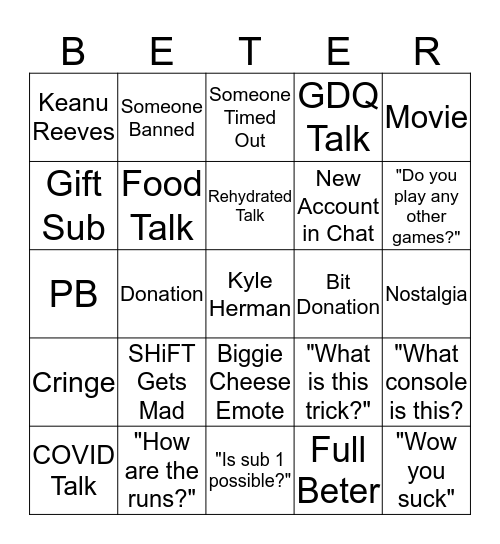 SHiFT Bingo Card