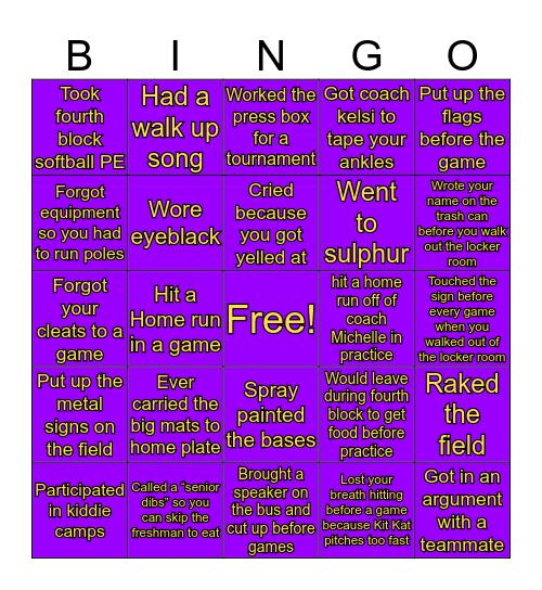 Lutcher Softball Bingo Card