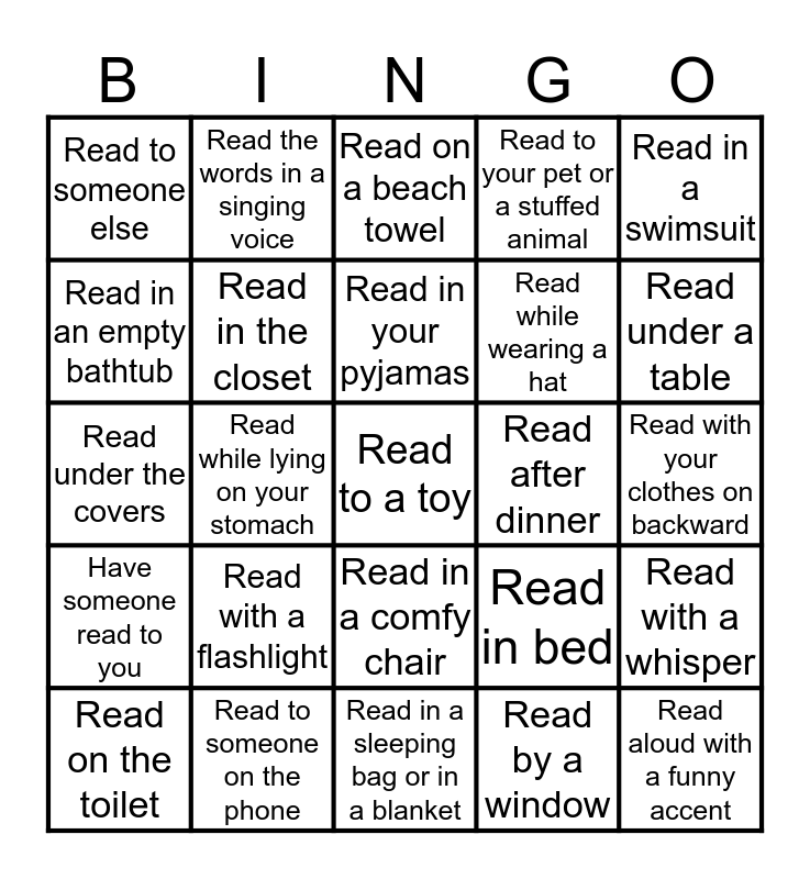 Home Reading Challenge Bingo Card