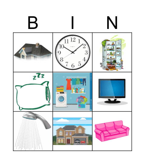 Parts of the House & Furniture Bingo Card