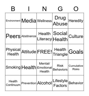 Living a Healthy LIfe!! Bingo Card