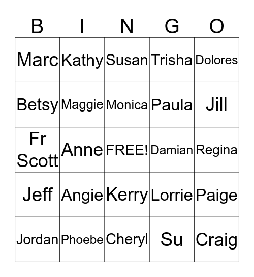 DISCIPLES  Bingo Card