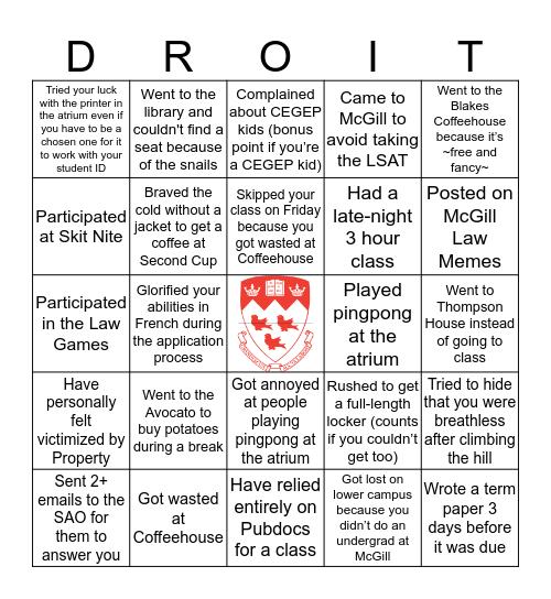 McGill Law Bingo Card