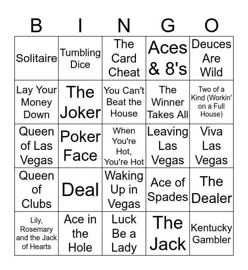Take A Gamble Bingo Card