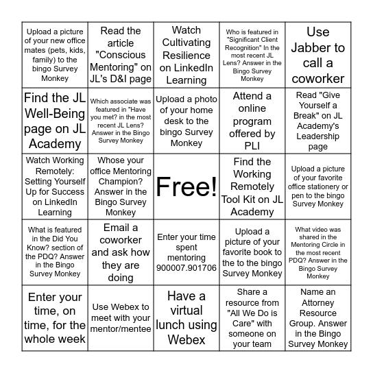 JL Mentoring Bingo Card