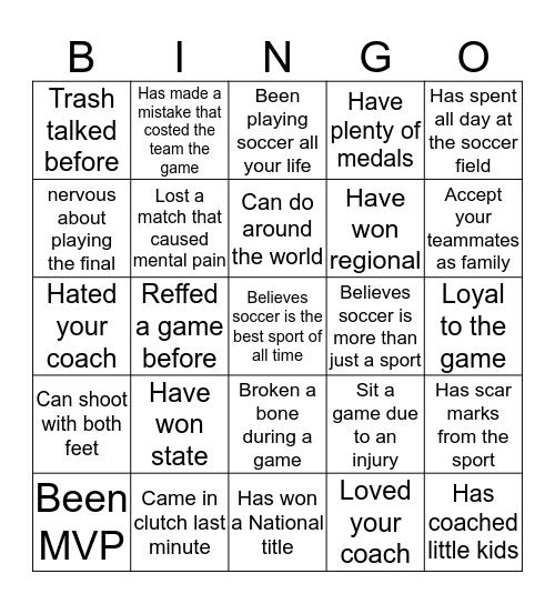 Soccer Bingo Card