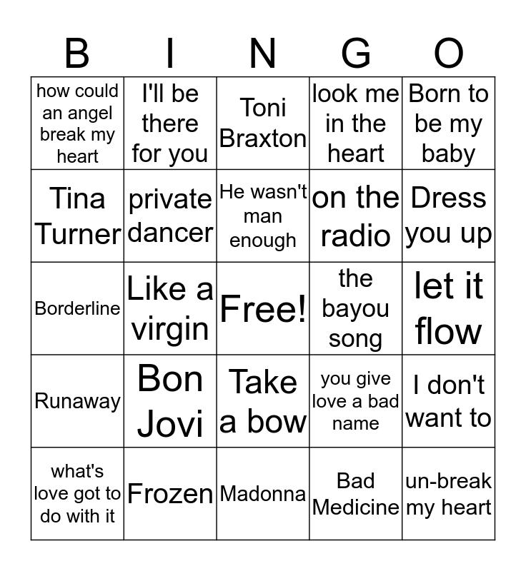 Favorite artists Bingo Card