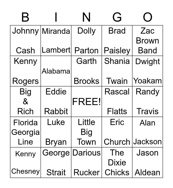 Eric & Lori's Country Music Bingo Card