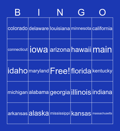 States You've Been To Bingo Card