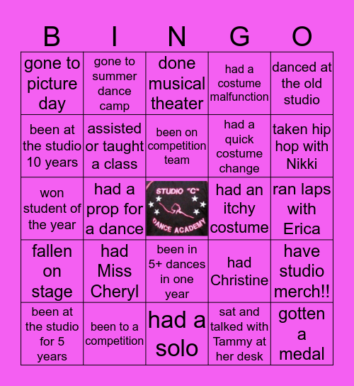 "STUDIO ""C"" Bingo Card"