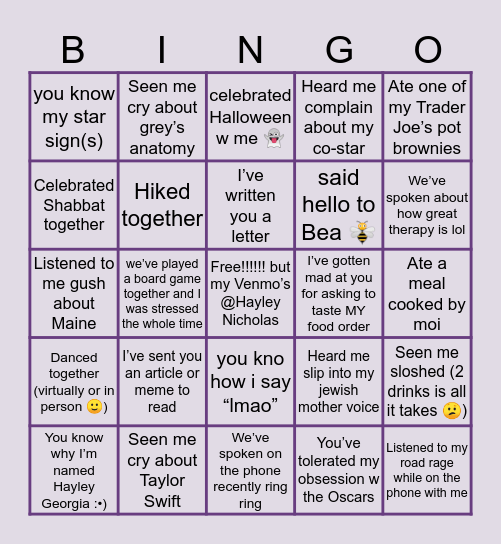 Friends w Hayley Bingooo Bingo Card