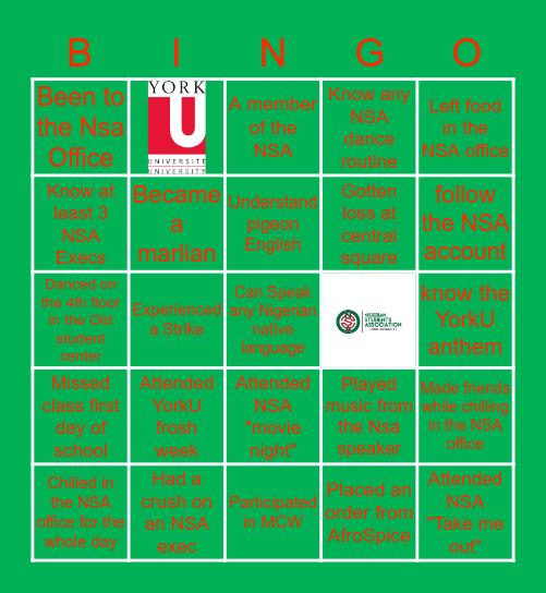 NSA 🇳🇬 York U Bingo Card
