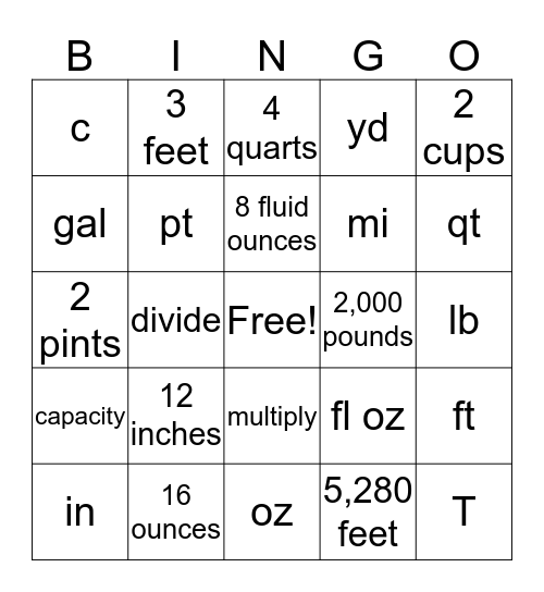 Customary Units of Weight, Length, & Capacity Bingo Card