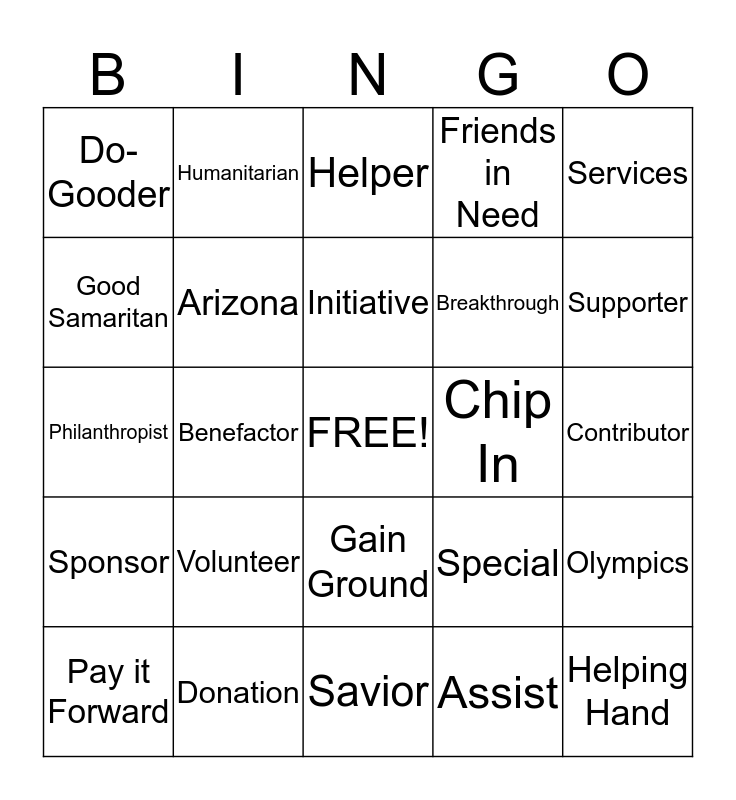 Special Olympics of AZ Bingo Card