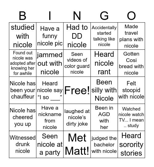 Nicole Bingo Card