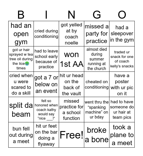 Destin gym bingo Card