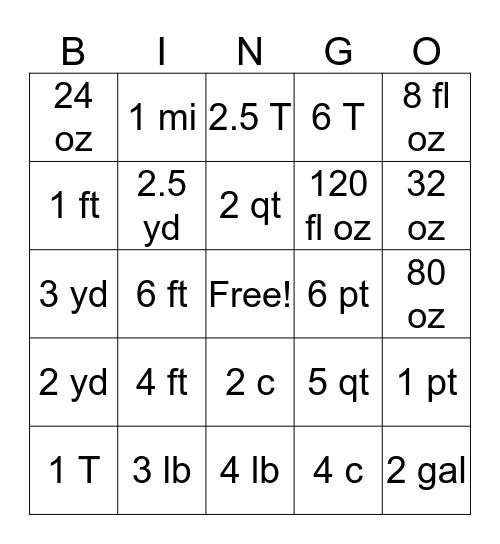 Customary Unit Conversions Bingo Card