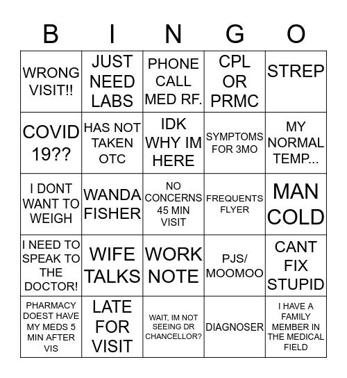 SPORTS MED & FAMILY PRACTICE Bingo Card