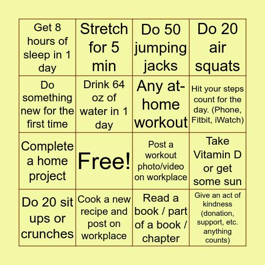 Wellness Bingo - Week of 4/6 Bingo Card