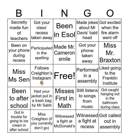Gratz Bingo!!! Bingo Card