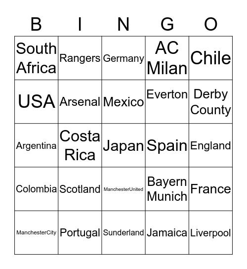 Soccer Teams Bingo Card