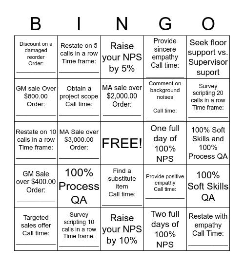 NPS / QA / Sales BINGO Card