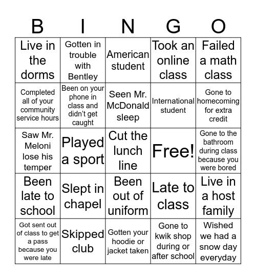 Life Prep Bingo Card