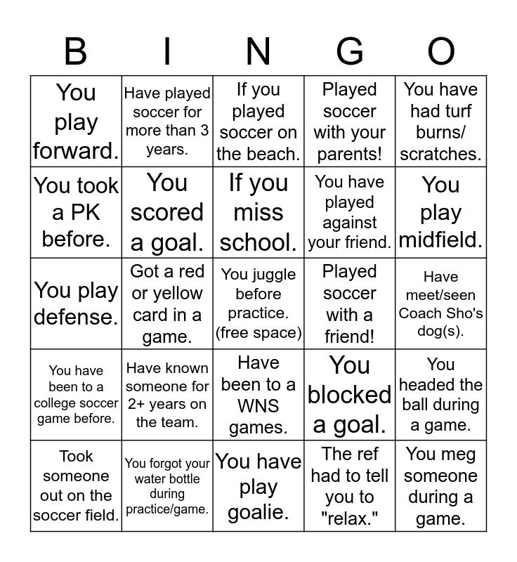 Bingo with Coach Sho! Bingo Card