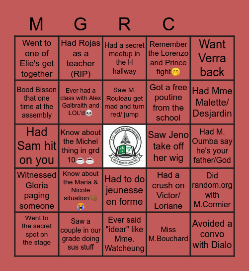 SENIOR'S BINGO Card