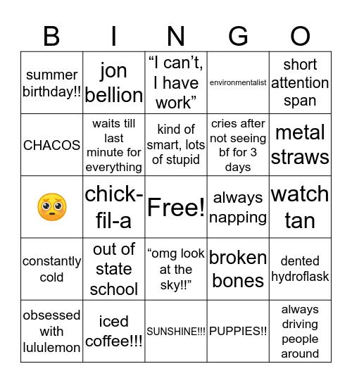 Emma's Bingo Card
